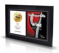 Double frame: wine award + magazine cover