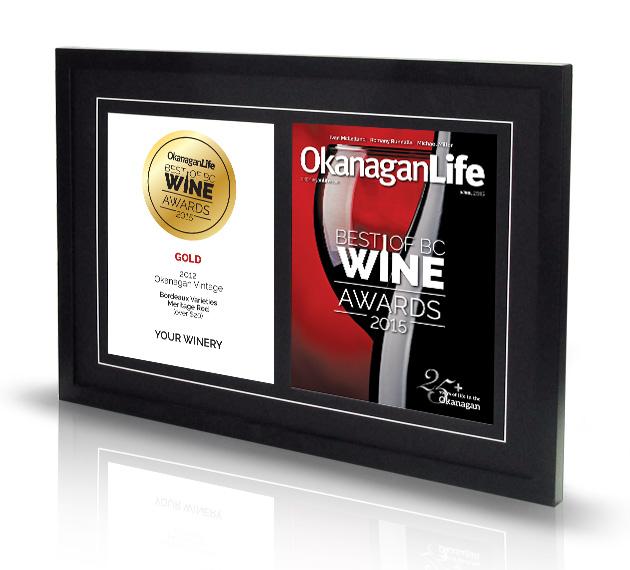 Double frame: wine award + magazine cover